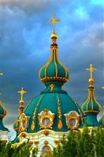 Igreja, Ucrânia, nuvens, árvores, cidade