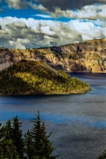 Crater Lake National Park, mountains, trees, clouds, USA