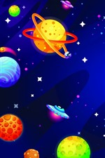 Preview iPhone wallpaper Creative picture, colorful planets, universe