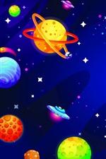 iPhone壁紙のプレビュー クリエイティブ絵、カラフルな惑星、宇宙