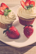 Preview iPhone wallpaper Cupcakes, cream, strawberry, dessert