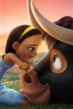 Preview iPhone wallpaper Cute girl and bull, cartoon movie