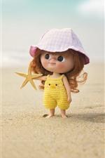Cute little girl, child, doll, beach