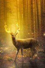 Preview iPhone wallpaper Deer, magic, fire, horns, forest