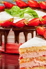 Preview iPhone wallpaper Delicious cake, strawberry, cream, chocolate
