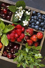 Delicious fruit, box, strawberry, blueberry, cherry