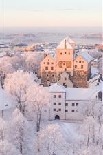 미리보기 iPhone 배경 화면 핀란드, 투르쿠, 도시, 겨울, 하얀 눈