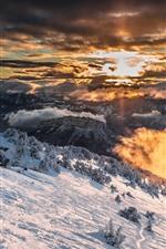 미리보기 iPhone 배경 화면 프랑스, 알프스, 눈, 겨울, 일출, 구름, 아침