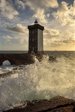 Preview iPhone wallpaper France, Brittany, lighthouse, sea, water splash, sunshine