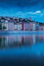 França, lyon, cidade, noturna, casas, rio, nuvens