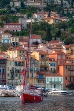 Preview iPhone wallpaper France, Riviera, harbour, houses, boats, sea
