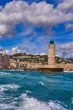 França, cidade, mar, farol, nuvens