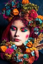 Menina, decoração de cabelo, colorida, fotografia de arte