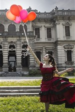 Preview iPhone wallpaper Girl, skirt, balloons, house