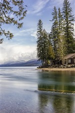 Preview iPhone wallpaper Glacier National Park, lake, trees, house, USA