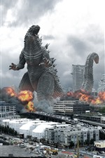 Preview iPhone wallpaper Godzilla and monster, city, movie