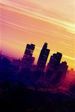 Preview iPhone wallpaper Grand Theft Auto V, motorbike, city