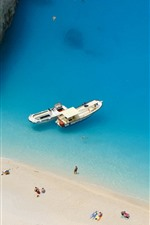 Preview iPhone wallpaper Greece, blue sea, beach, people, boats
