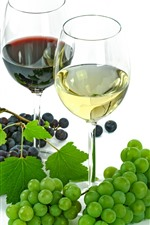 Green and red grapes, wine, red wine, glass cups, white background
