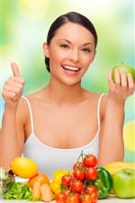 Preview iPhone wallpaper Happy girl, fruits, apple, lemon, orange, pepper