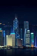 Hong Kong, city night, skyscrapers, art picture