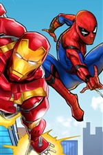 Preview iPhone wallpaper Iron Man and Spider-man, DC comics