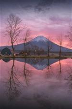 미리보기 iPhone 배경 화면 일본, 후지산, 호수, 물 반사, 나무, 노, 아침