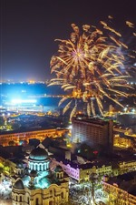 Preview iPhone wallpaper Lithuania, Kaunas, fireworks, night, city, lights