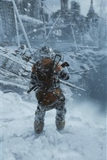 Preview iPhone wallpaper Metro: Exodus, city, ruins, soldier, winter