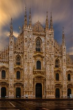 Preview iPhone wallpaper Milan Cathedral, Italy, sun rays, dawn