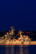 Preview iPhone wallpaper Moscow, cruiser, moon, night, sea