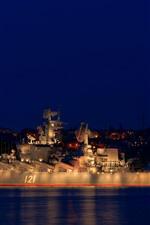 Moscou, cruzador, lua, noite, mar