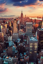 New York, Manhattan, city, skyscrapers, sunset, USA