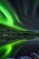Preview iPhone wallpaper Northern lights, beautiful night scenery, Norway, lake, mountains, stars, huts