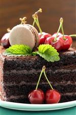 미리보기 iPhone 배경 화면 초콜릿 케이크 한 조각, 체리