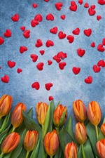 Orange tulips and many red love hearts