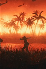 Palm trees, Vietnam, soldiers, helicopter, fire, war, art picture