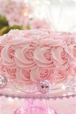 Preview iPhone wallpaper Pink roses, cake, romantic
