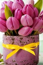 Pink tulips, bouquet, vase, ribbon