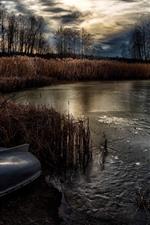 Pond, grass, trees, boat, ice, dusk, autumn