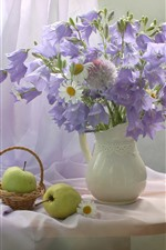 Purple bell flowers and white chamomile, vase, apple, pear