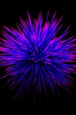 Preview iPhone wallpaper Purple flower, thorn, black background, abstract picture