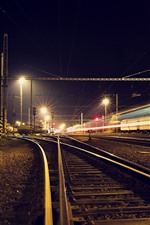 Preview iPhone wallpaper Railroad, track, light lines, night