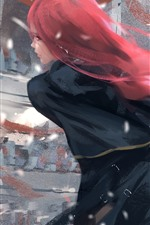Red hair fantasy girl, back view, sword, wind