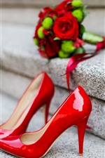 Preview iPhone wallpaper Red high heels, stairs, roses