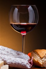 Preview iPhone wallpaper Red wine, cheese, knife, bread, sausage