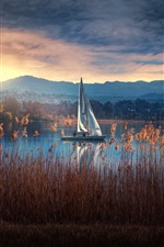 Preview iPhone wallpaper Reeds, lake, sailboat, mountains, clouds, morning