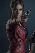 Preview iPhone wallpaper Resident Evil 2, girl, gun