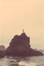 Rocks, sea, man, morning, fog