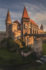 Preview iPhone wallpaper Romania, Transylvania, castle, bridge, river, dusk